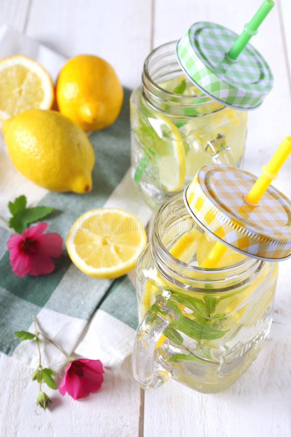 Bebida de restauración fresca: agua, limón y menta puros foto de archivo libre de regalías