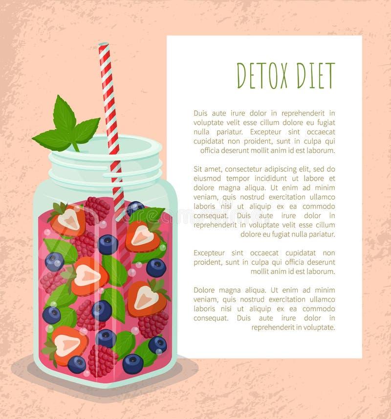 Bebida de restauración de la fresa del tarro del cartel de la dieta del Detox stock de ilustración