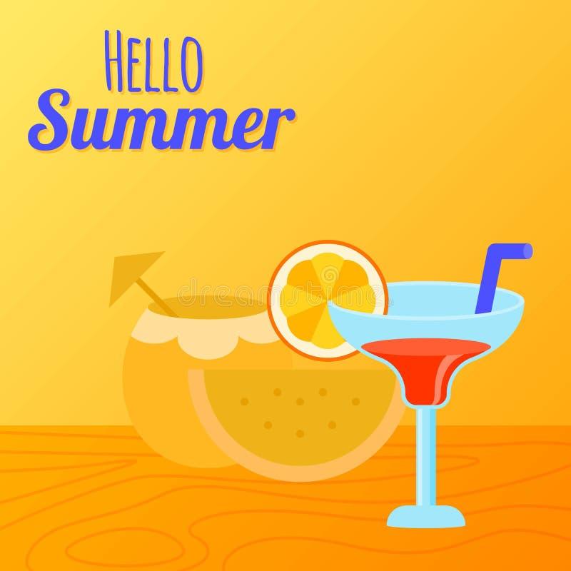 Bebida de Verão, sumo de coco com fruta e copo de sumo ilustração stock