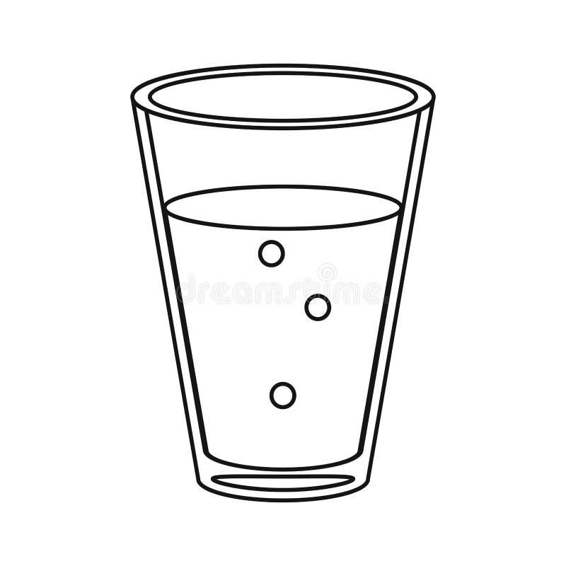 A bebida de vidro da cafeína do café do copo dilui a linha ilustração royalty free