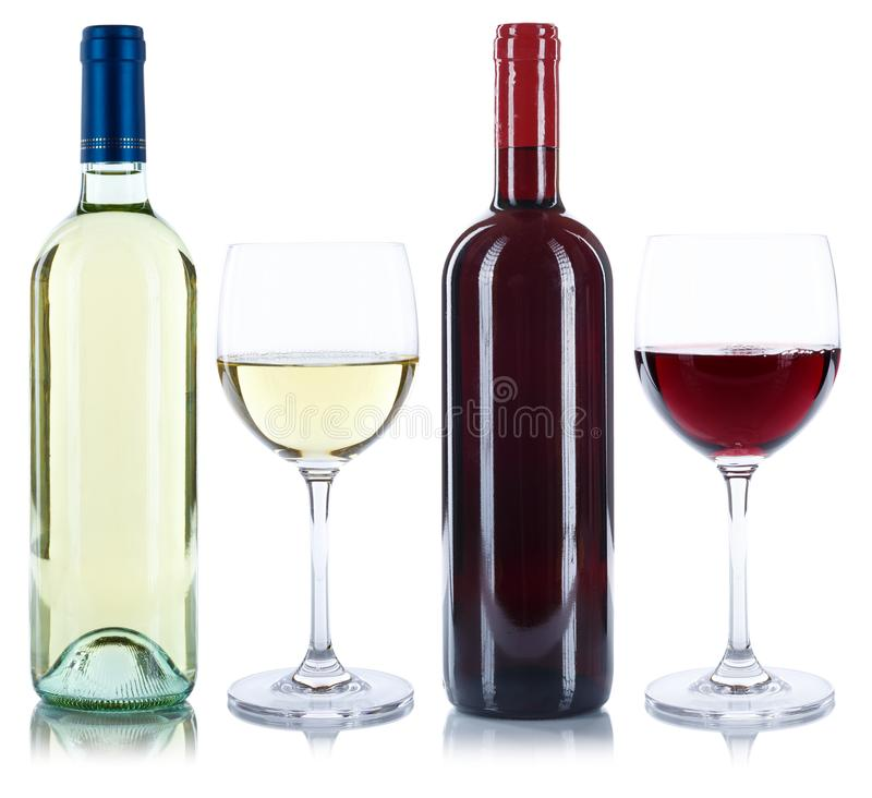 Bebida del alcohol del cristal de botellas del vino blanco rojo y aislada imagen de archivo libre de regalías