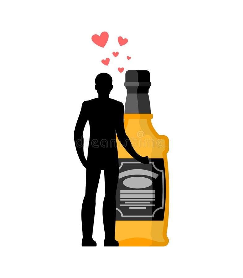 Bebida del alcohol del amante Hombre y botella de abrazo del whisky Amantes c libre illustration