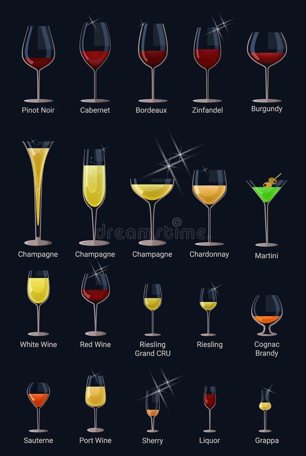Bebida del alcohol del lagar del vector de la copa de vino y copa roja de la bebida en el sistema del ejemplo del restaurante de  stock de ilustración