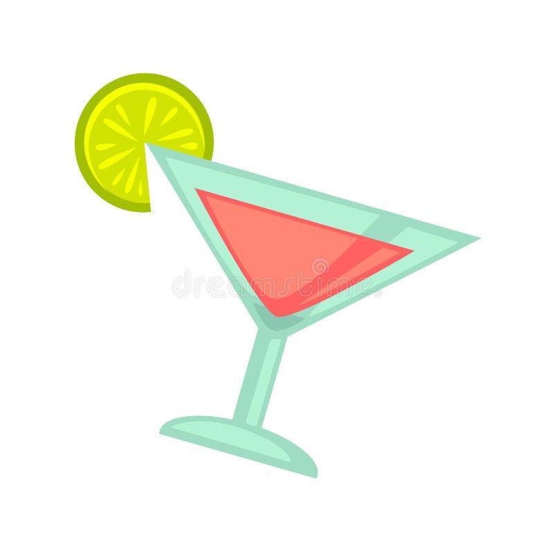 Bebida del cóctel del club de noche o del partido de disco en icono plano del vector de cristal libre illustration
