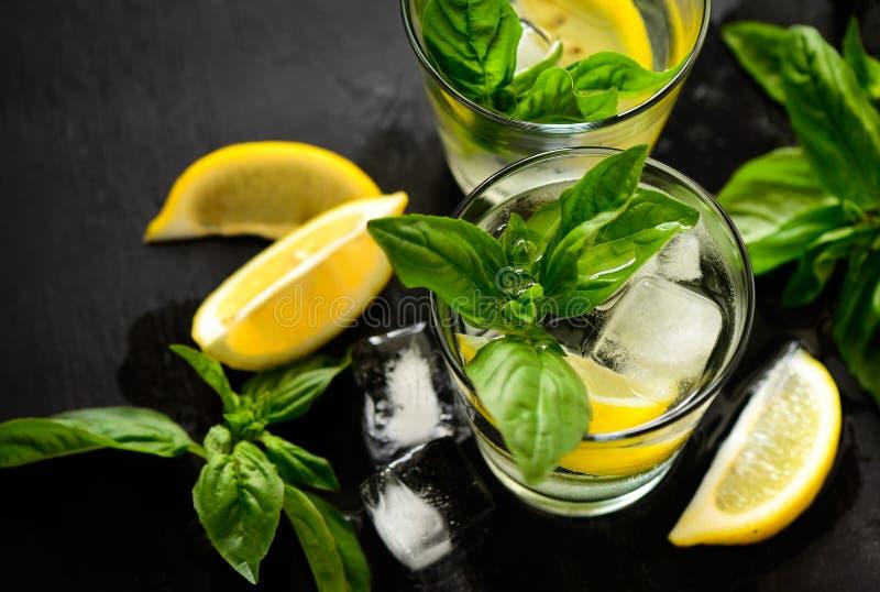 Bebida del limón y de la albahaca fotografía de archivo