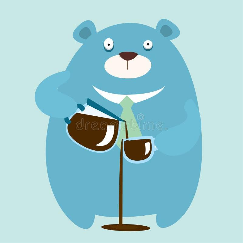 Bebida del oso demasiado café stock de ilustración