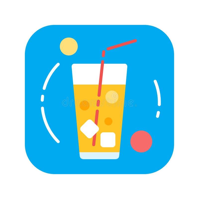 Bebida del verano con el icono plano del color de los cubos de hielo libre illustration