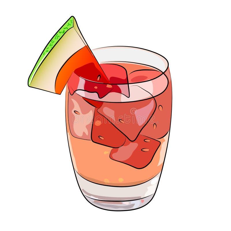 Bebida del verano de la sandía - cóctel de la sangría Ilustración del vector ilustración del vector