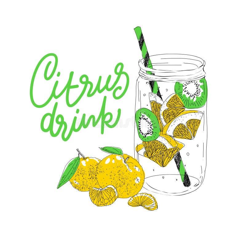 Bebida dibujada mano del hielo del verano del vector con cittrus Limón y menta Bosquejo del agua del Detox Ejemplo linear - El fi stock de ilustración
