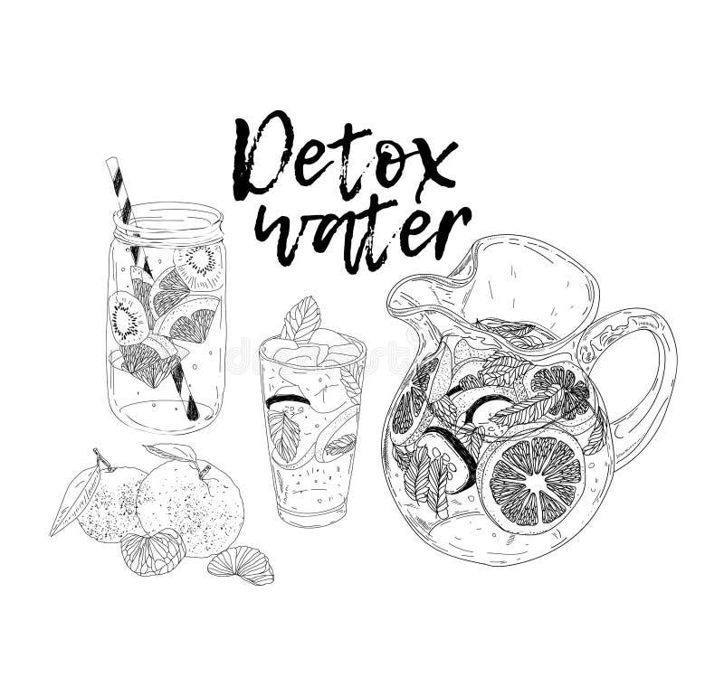 Bebida dibujada mano del hielo del verano del vector con cittrus Limón y menta Bosquejo del agua del Detox Ejemplo linear - El fi ilustración del vector