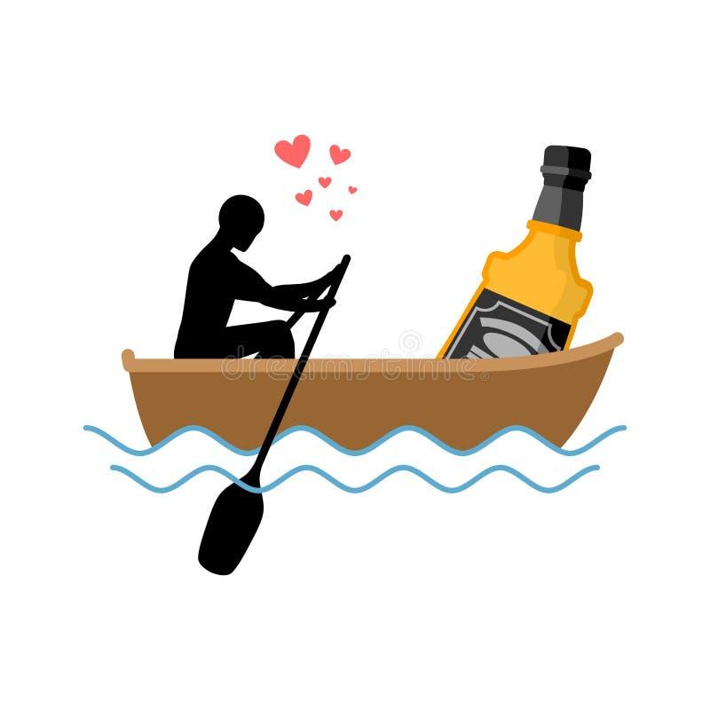 Bebida do álcool do amante Homem e garrafa do passeio do barco do uísque amantes ilustração royalty free