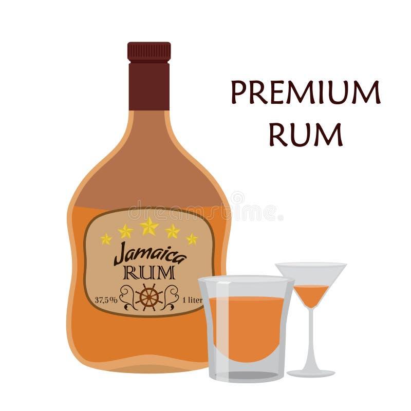 Bebida do álcool, rum com vidro Rum de Jamaica no estilo liso ilustração royalty free