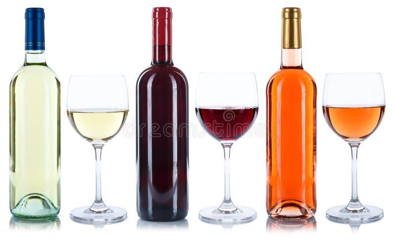 Bebida do álcool do vidro de garrafas da rosa do vermelho e do vinho branco isolada imagens de stock royalty free