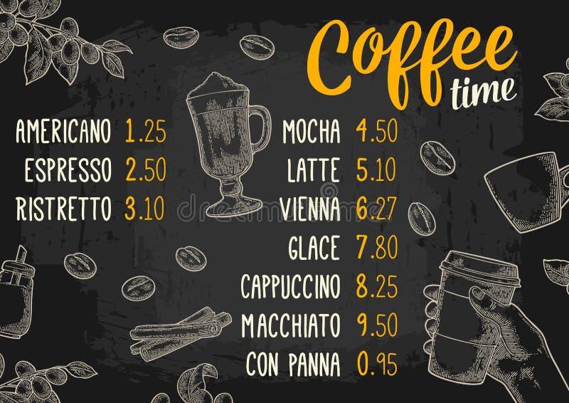 Bebida do café do menu do restaurante ou do café com preço ilustração royalty free