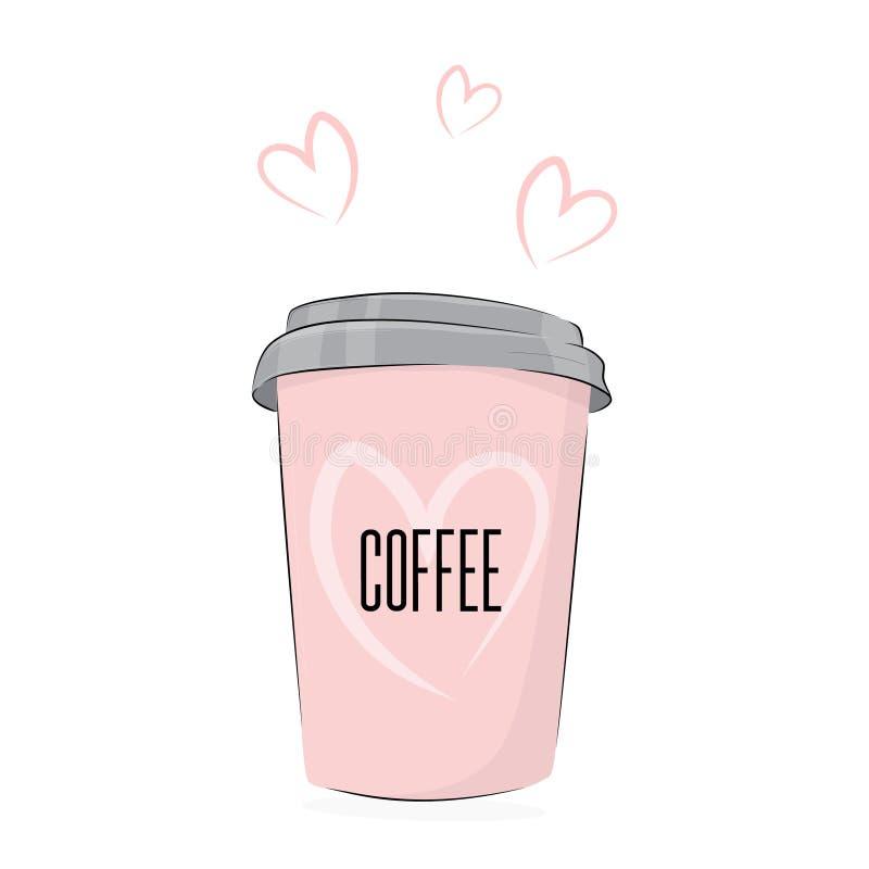 Bebida do café do vetor Copo bonito da ilustração do alimento da bebida a ir com texto bonito Cartaz do café com bebida cor-de-ro ilustração stock