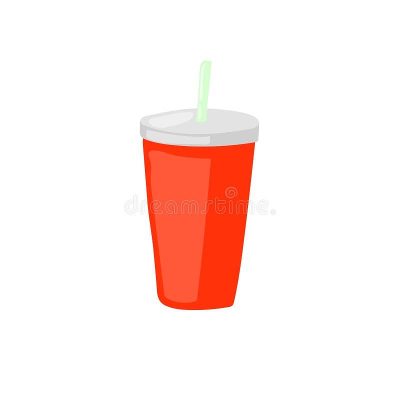 A bebida do fast food leva embora a soda com ícone do vetor da palha insalubre ilustração royalty free