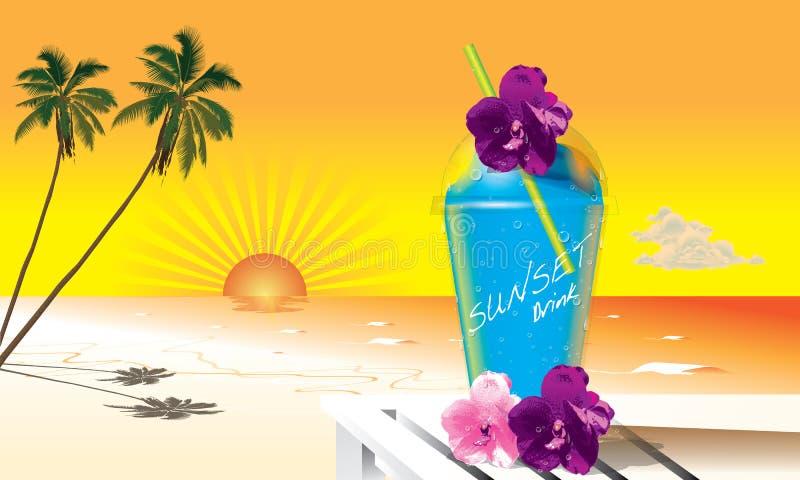 Bebida do por do sol ilustração do vetor