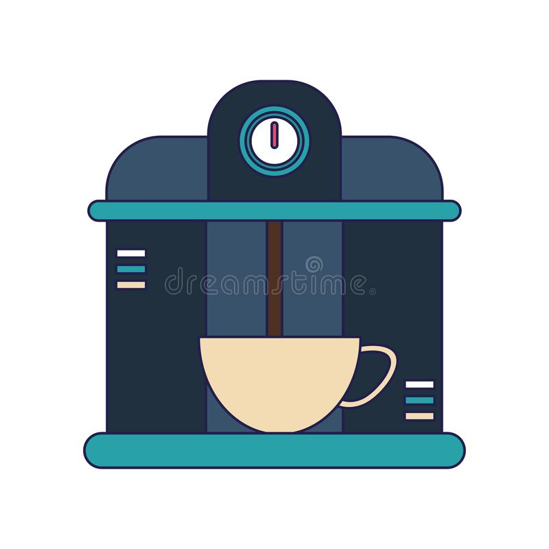 Bebida do serviço da máquina de café do café em linhas azuis da caneca ilustração royalty free