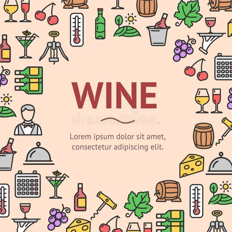 A bebida do vinho assina em volta da linha conceito do molde do projeto do ícone Vetor ilustração stock