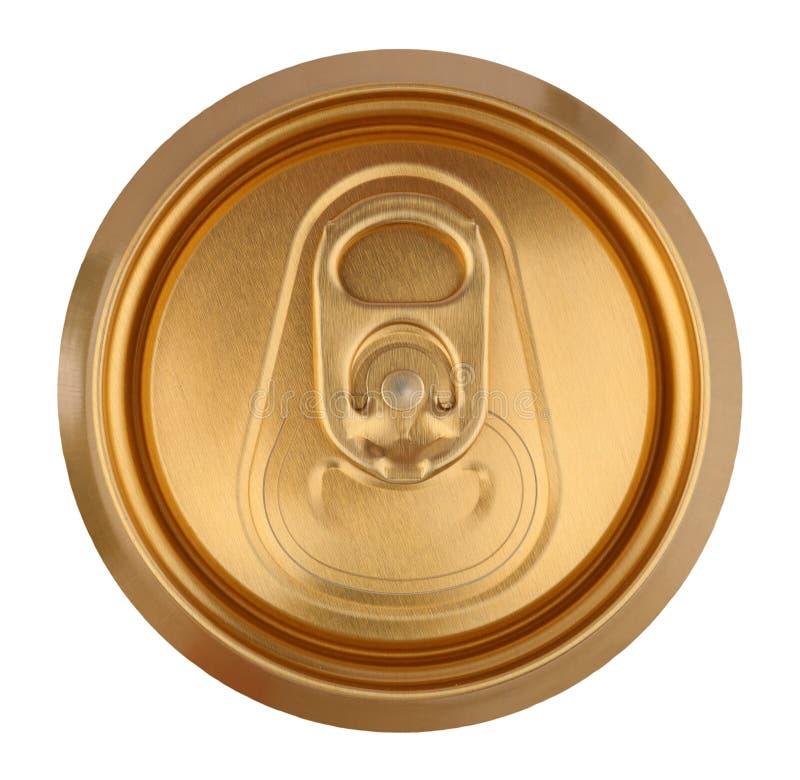 A bebida dourada pode fechar-se acima imagens de stock royalty free