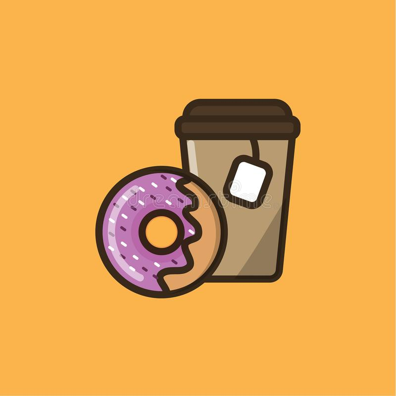 Bebida e filhós do chá ilustração stock