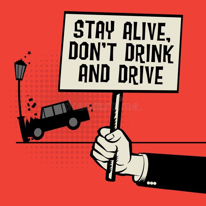 Bebida e impulsión vivas del ` t de Don de la estancia disponible del texto del cartel stock de ilustración