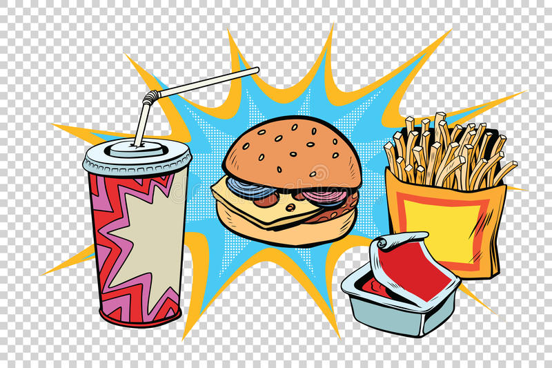 Bebida e molho ajustados das fritadas do hamburguer do fast food ilustração stock