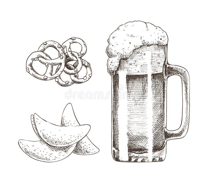 Bebida espumosa del alcohol en el bocado de cristal y sabroso ilustración del vector