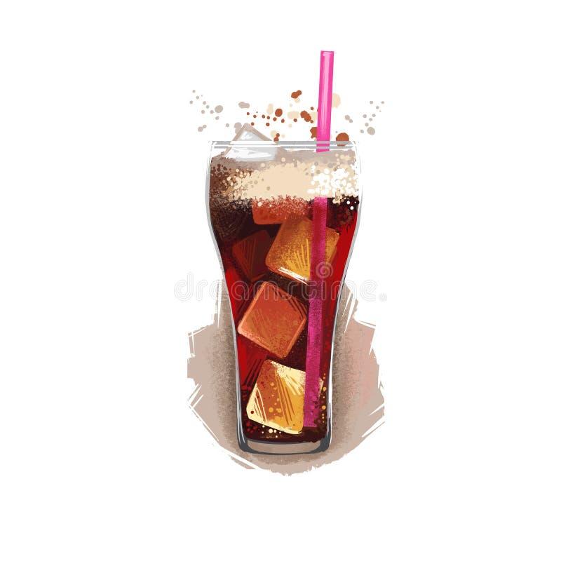 Bebida fría de la soda con los cubos de hielo en el vidrio aislado en el fondo blanco Refresco, comida de la calle, para llevar,  libre illustration