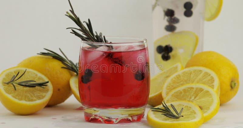 Bebida fr?a en vidrio de consumici?n C?ctel rojo de restauraci?n de la limonada de la soda con el lim?n fotos de archivo