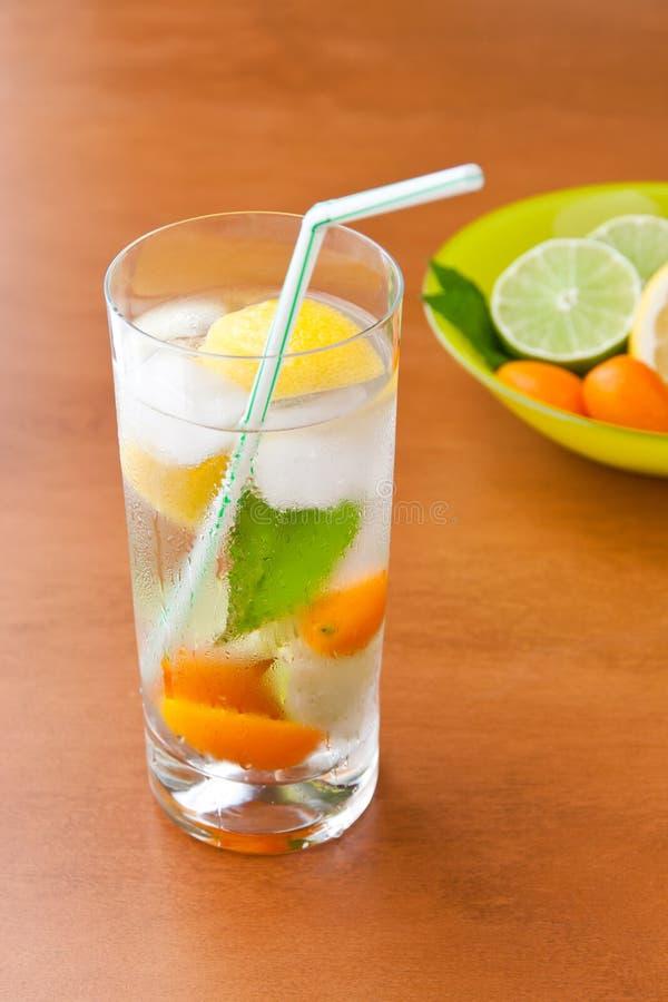 Bebida fresca fria com limão, cal, kumquat e hortelã. imagem de stock royalty free