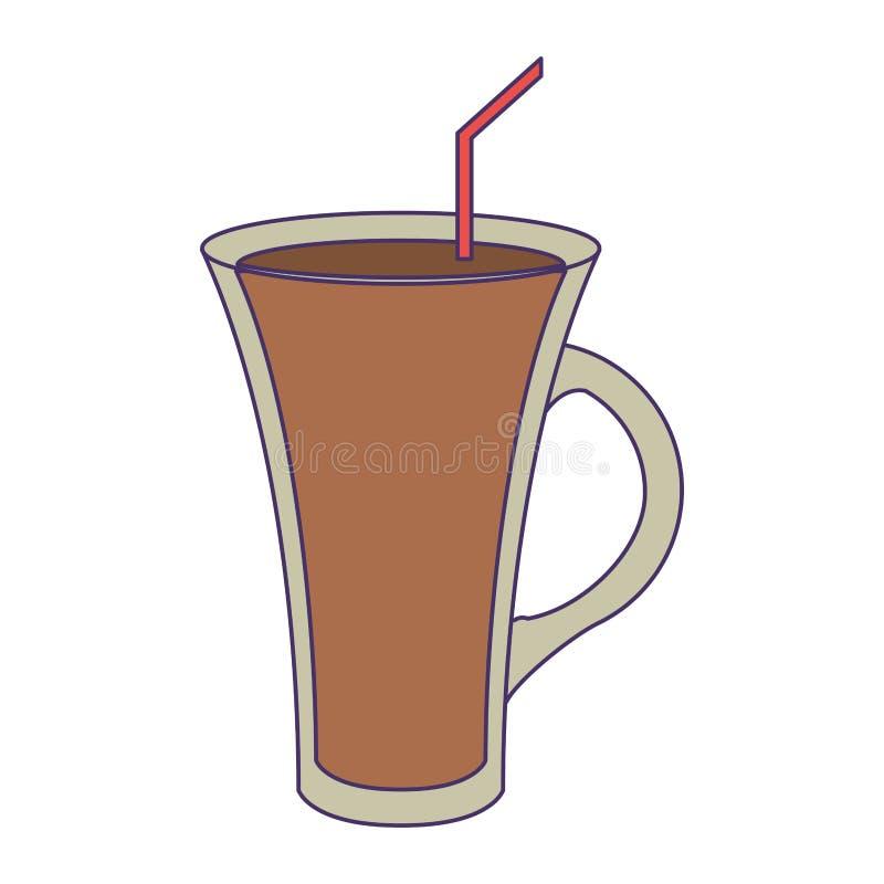 Bebida fria do café com linhas azuis da palha ilustração stock