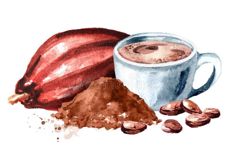 Bebida natural do cacau com vagem, pó e feijões do cacau Ilustração tirada mão da aquarela isolada no fundo branco ilustração do vetor