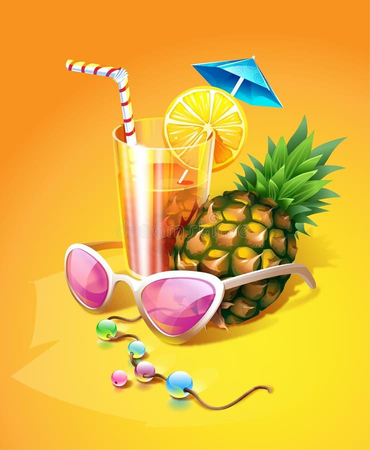 Bebida, piña, gafas de sol y granos tropicales ilustración del vector