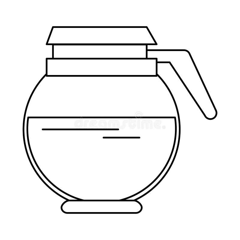 Bebida quente completa do potenciômetro do café isolada em preto e branco ilustração do vetor