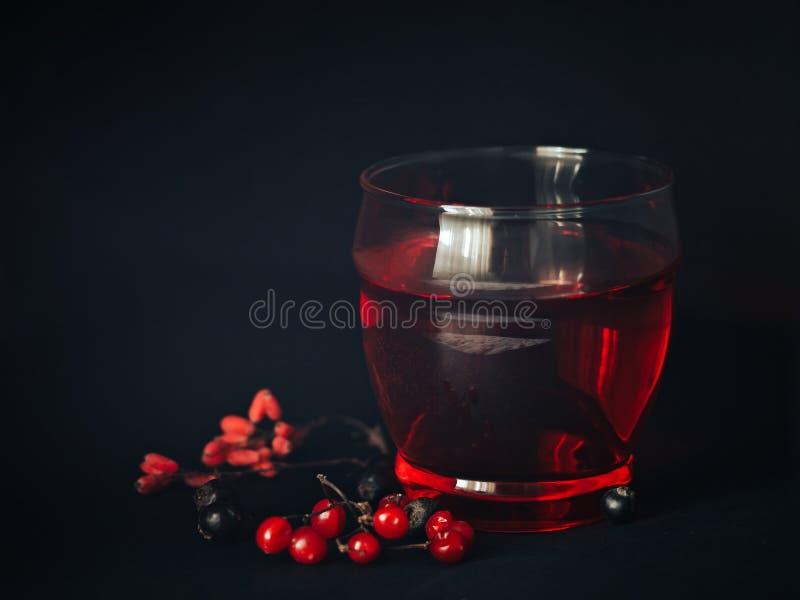 Bebida roja en un vidrio imagen de archivo