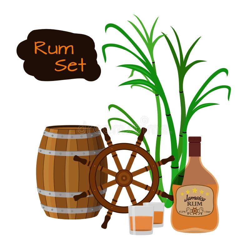 Bebida, rum, vidro, tambores, leme e cana-de-açúcar do álcool Estilo liso ilustração royalty free