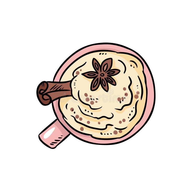 Bebida sabrosa del café con canela y crema azotada Imagen acogedora del estilo lindo de la historieta libre illustration