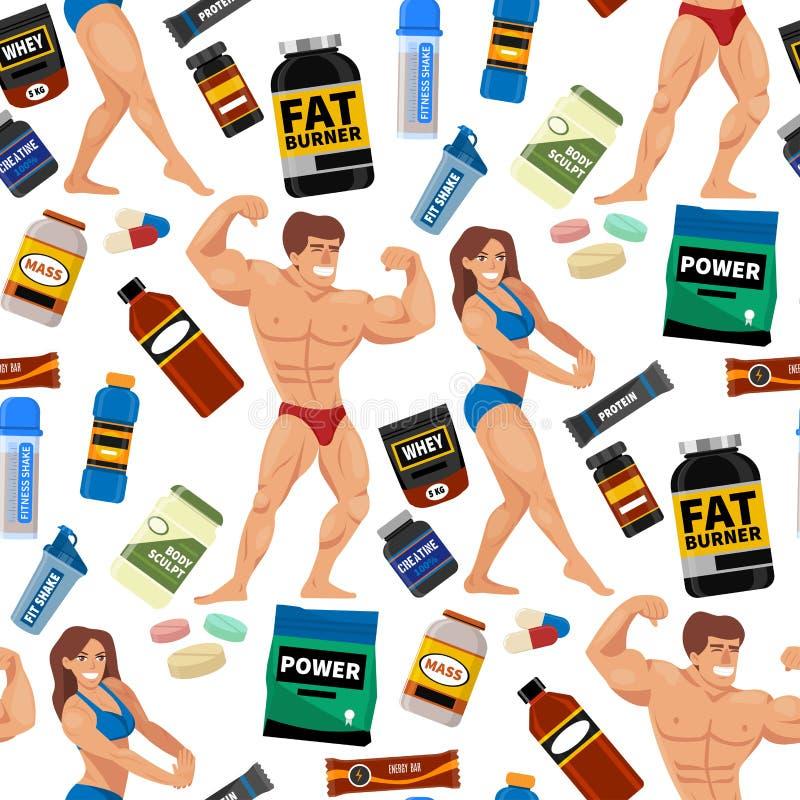 Bebida sem emenda do pó da proteína da nutrição da aptidão dos símbolos da dieta de alimento do esporte do fundo do teste padrão  ilustração stock