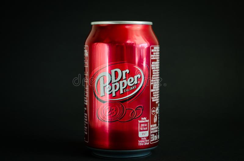 Bebida suave de la cola del Dr. Pepper imagen de archivo libre de regalías