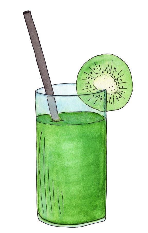 Bebida suculenta frutado do verão Kiwi Smoothie Cocktail verde-claro ilustração do vetor