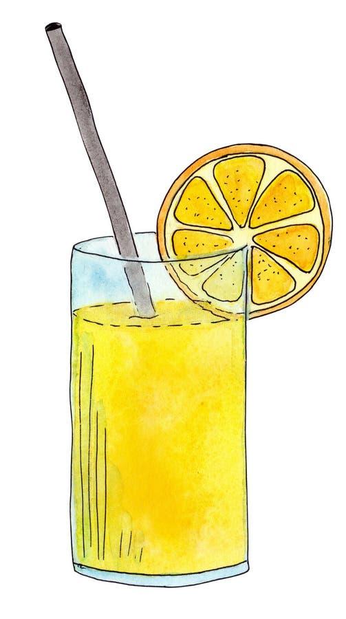 Bebida suculenta frutado do verão Suco de laranja brilhante em uma secadora de roupa de vidro alta com uma palha ilustração do vetor