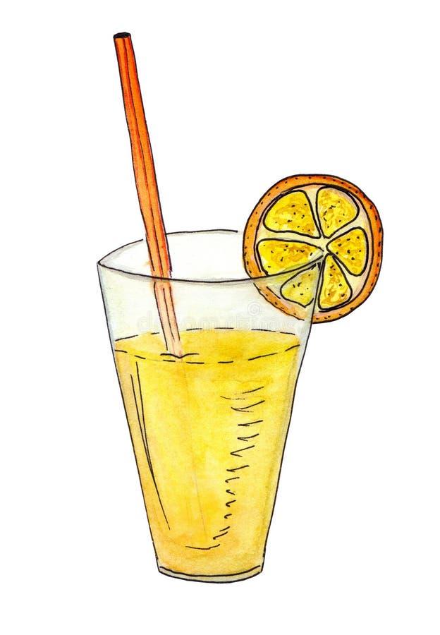 Bebida suculenta frutado tropical Suco de laranja brilhante em um vidro alto com uma palha e uma fatia de uma laranja ilustração do vetor
