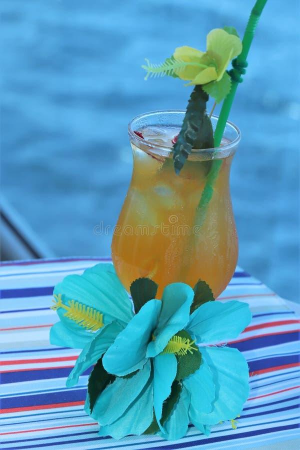 Bebida tropical con la fruta y el fondo azul del océano fotos de archivo libres de regalías