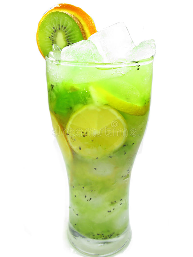 Bebida tropical do smoothie com gelo foto de stock