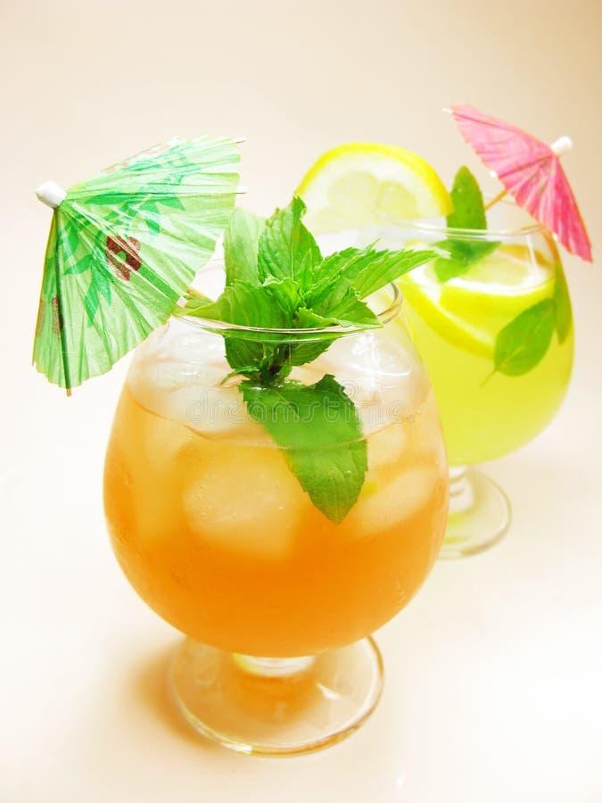 Bebida verde vermelha do cocktail do perfurador da fruta com limão imagem de stock royalty free