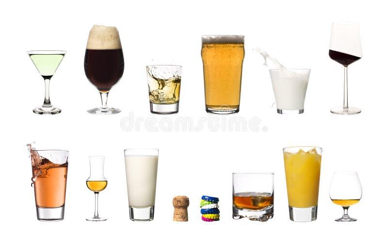 Bebidas aisladas en el fondo blanco imágenes de archivo libres de regalías