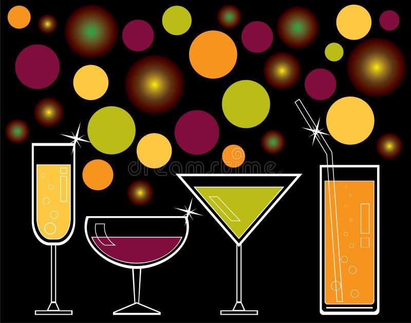 Bebidas alcohólicas y jugo stock de ilustración