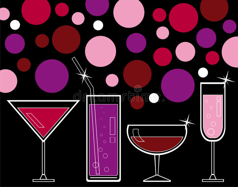 Bebidas alcohólicas y jugo ilustración del vector