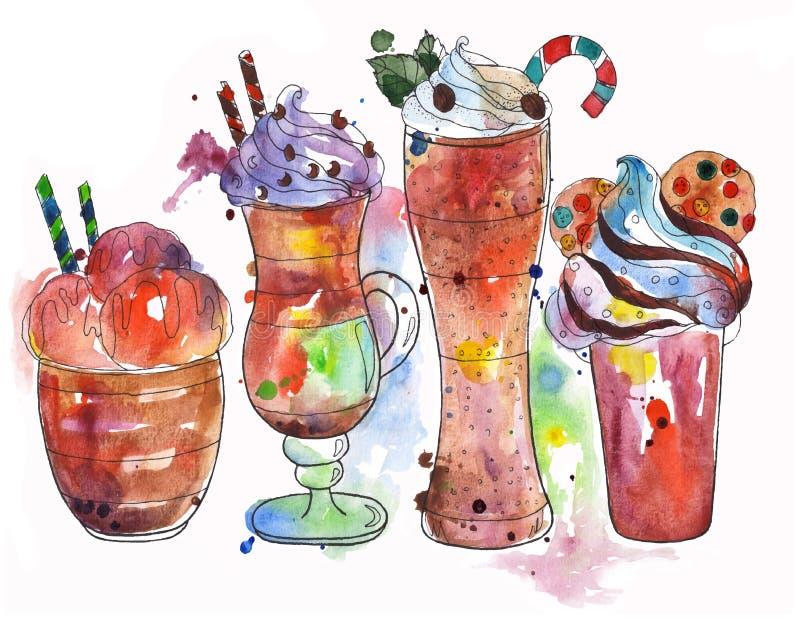 Bebidas calientes de la selección: helado del coffe, latte, frappe, chocolate ilustración del vector